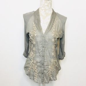 Anthro Tiny SMALL Button Up Embroidered Blouse 819